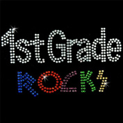 Iron on Hot Fix Rhinestone Motif Design 1st Grade Rocks