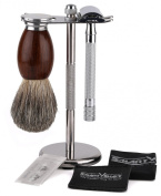 The Fathers Day Gift - Shaving Gift Set with SmartHome Razor and Brush Stand, Double Edge Safety Razor (Long Handled), 100% Badger Brush, BONUSES INCLUDE. 5 Replacement Blades, 1 Leather Blade Guard, 1 Polishing Towel, Great Gift Idea for Father Husban ..