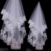 GTT Bride Wedding Lace Veil, White