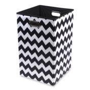 Modern Littles Bold Folding Laundry Bin In Chevron Black