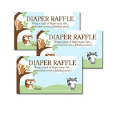 Enchanted Forest Woodland Red Fox, Raccoon, Squirrel Baby Shower Nappy Raffle Tickets 20-pack
