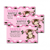 Monkey Play Pink Girl Theme Baby Shower Nappy Raffle Tickets 20-pack