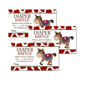 Round Em Up Western Horse Baby Shower Nappy Raffle Tickets 20-pack