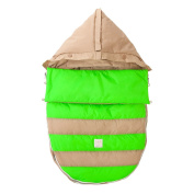 7 A.M. ENFANT Bee Pod Baby Bunting Bag for Strollers and Car-Seats with Removable Back Panel, Beige/Neon Green, Medium/Large