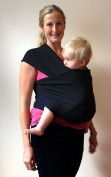 Black Baby Wrap Carrier ~ Organic Cotton for Safe, Comfortable Baby Wearing. Free Shipping and Detailed, Easy to Follow Instructions! Babies Feel More Secure so Develop Better Attachment and Sleep Patterns. Great for Discrete, Easy Breastfeeding Inside ..