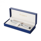 Waterman Perspective Silver Chrome Trim Medium Nib Fountain Pen - Gift Boxed