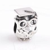 Everbling Wisdom Owl with Graduation Cap 925 Sterling Silver Bead Fits Pandora European Charm Bracelets