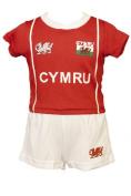 WELSH CYMRU BABY KIDS 'BRYN' COOLDRY WALES RUGBY FOOTBALL KIT RED & WHITE