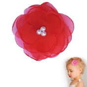 Pearl Poppy flower hair clip - Girl Wispy Clippy - best no slip barrette for fine hair