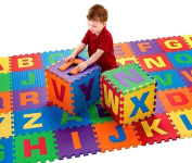 Soft Baby Children Play Mat Gym Foam Alphabet 26 Piece Each Tile 31.5 cm x 31.5 cm / 1cm Thick with Pattern Textured Surface