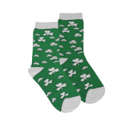 Kids Socks with White Shamrock Print, Green colour