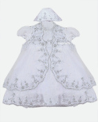New Arrival! Baby Girls Stunning Highly Detailed Shimmering 3 Pieces christening dress with Bonnet Hat