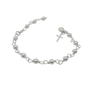 White Pearl Christening Bracelet with Cross