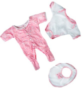Pink Babygrow Jumpsuit with Bib Fit 15-16 Inch (40cm) Teddies & Build A Bear