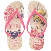 Kids Havaianas Slim Tinkerbell Flip Flops Beige Childs Junior