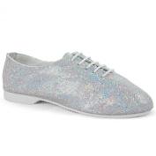Silver Glitter Hologram Full Sole Jazz Dance Shoes Girls Childs By Dance Gear