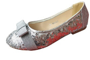 Girls Silver Gold Glitter Sparkly Sequin Wedding Party Evening Flat Ballerina Pumps Shoes