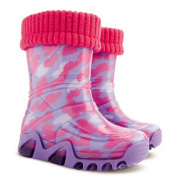 Girls Kids Baby Girl Wellies Wellington Boots Rainy Snow Warm Liner Sock Little Hearts