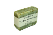 Handmade Natural Tea Tree & Nettle Soap Bar - Acne / Blackhead / keratosis Pilaris / Athlete's Foot - 75g