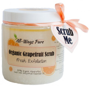 Organic Body Scrub Grapefruit essential oil Exfoliating 100% Pure, with Vit E Oil 300ml jar Sea salt, sugar and Epsom salts