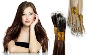 50 Stands Nano Ring Tip Hair Extensions 46cm 1g Strands Straight AAAA Grade Remy Human Hair --Jet Black