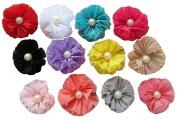 KingWinX Pearl and Flowers Baby Girl's Headband, 12 pcs