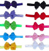 KingWinX Bowknot Style Baby Girl's Headband, Pack of 10 pcs