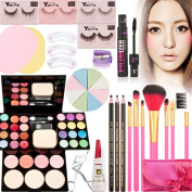 SONGQEE(TM) Perfect 8 Pcs Learner Holiday Gift Set Makeup Kit -Complete Eye Shadow Make-up Beauty Case - Small and Convenient to Carry on-(9 Colour Eyeshadow+2 Colour Blushes+7Pcs Silk Brushes Set +Round Shape Powder Puff +Eyelashes 111#,118#,133#,131# ..