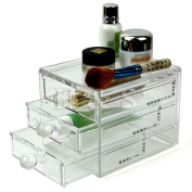H & S - Acrylic Clear Make up Organiser Cosmetic Box - 3 Drawers - S
