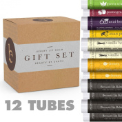 Lip Balm Gift Set - Pack of 12 Tubes of Beauty by Earth's Best Selling Beeswax Lip Care - 100% Natural Ingredients Including Coconut Oil and Aloe Vera - Flavours