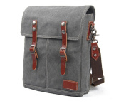 Nasis Casual Leather Canvas Schoolbag Satchel Hobo Tote Handbag Daypack for Women/Men AL4027