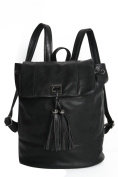 HELENA BLACK BACKPACK WITH TASSELS