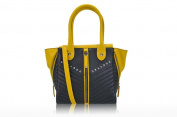 LIU JO TWO-TONE HANDBAG WITH HINGES BLACK/YELLOW FW 15