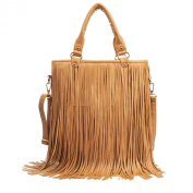 Women's Faux Fringe Tassel Shoulder Bag Big Casual Tassels Hobo Handbag