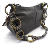 'Leah' Shoulder Bag Small Handbag with metal hoop handle and top zip fastening BLACK