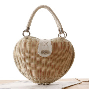 Stone store Cute Heart Shaped Straw Handbag Rattan Woven Bag Summer Beach Bag