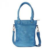 Shopper leather bag washed with double handles and strap DUDU Agata Blue