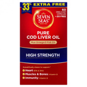 Seven Seas Pure Cod Liver Plus Omega-3 Fish Oil with High Strength Capsules - Pack of 60 Capsules