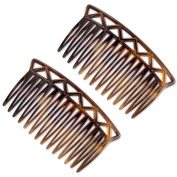 Ebuni | The Luce 7cm French Hair Comb (Pair) Tortoiseshell | Fine/Medium Hair