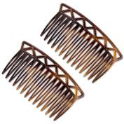 Ebuni | The Luce 7cm French Hair Comb (Pair) Tortoiseshell | Fine/Medium Hair
