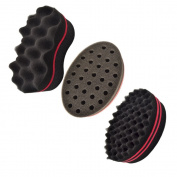 3Pc New Magic Barber Hair Curling Sponge Brush for Coils Dreads Twists