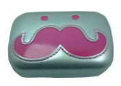 KingWinX Cute Moustache Containers for Contact Lenses, Silver