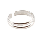Sterling Silver Double Ring Design Toe Ring - Adjustable Size