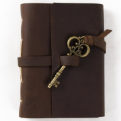 Unique Genuine Leather Journal Diary with Key Handmade Lined Blank Craft Paper Brown with Gift Box (Dark brown & A6