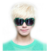 OUKIN Fashion Man Short Platinum Blonde Rice White Straight Wig