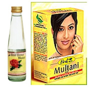 Hesh Herbal Multani Mati (Mitti) Fullers Earth 100g & Dabur Red Rose Water 250ml - 2 in 1 *Complete Face & Skin Care Combo Pack