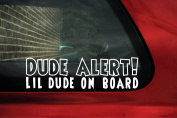 Dude alert! lil dude on board Sticker. baby boy in car warning decal