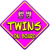 TOON GIRL TWINS Baby on Board Car Window Sign
