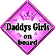 GEM JEWEL DADDYS GIRLS Baby on Board Car Window Sign