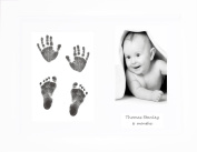 BabyRice New Baby Gift Hand & Footprint Inkless Wipe Keepsake Kit Black Prints Unisex